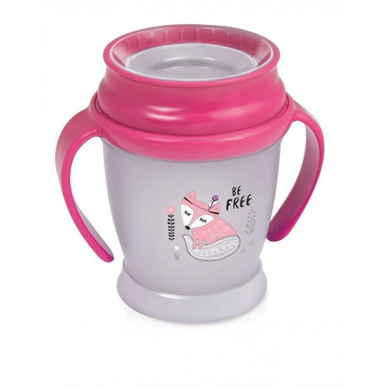 LOVI nevylévací hrníček 360° MINI INDIAN 210 ml s úchyty bez BPA - růžový