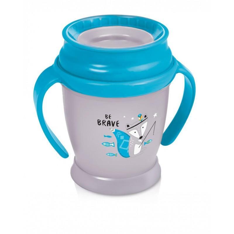 LOVI nevylévací hrníček 360° MINI INDIAN 210 ml s úchyty bez BPA - modrý