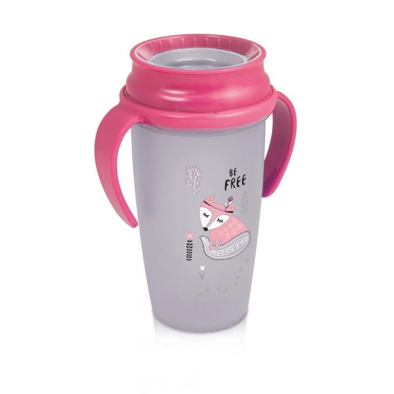 LOVI nevylévací hrníček 360° ACTIVE INDIAN 350 ml s úchyty bez BPA - růžový