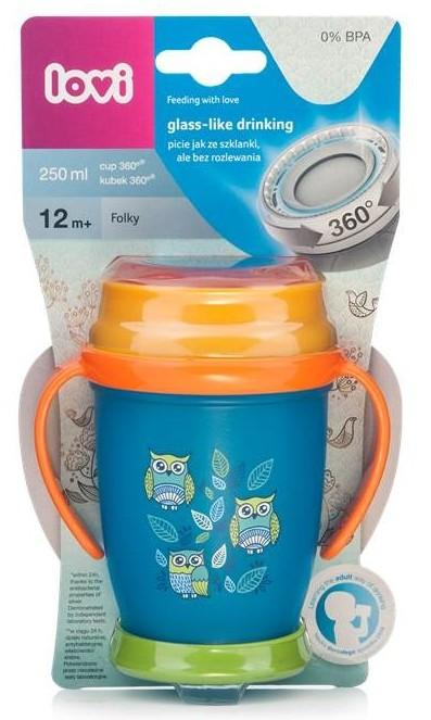 LOVI Hrníček 360° JUNIOR FOLKY 250 ml s úchyty bez BPA limitovaná kolekce - modrá
