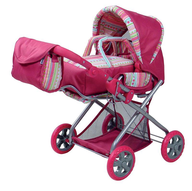 Knorrtoys Kočárek pro panenky KYRA - pink stripes