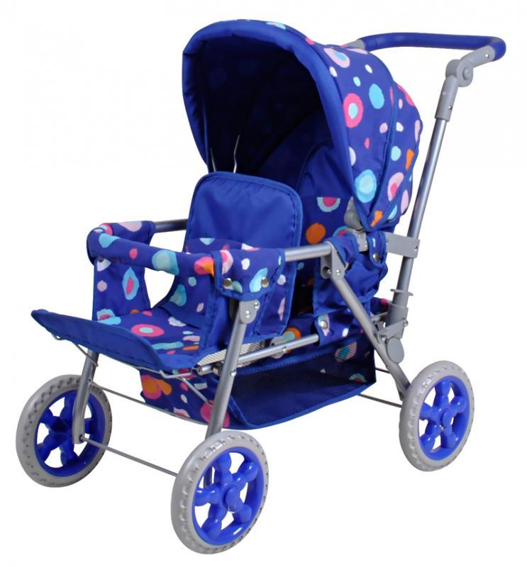 Knorrtoys Kočárek pro panenky Big Twin (pro dvě panenky) - blue splash