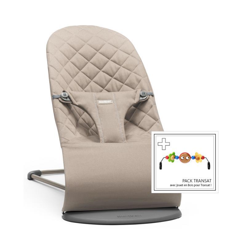 BabyBjörn lehátko Bouncer Bliss Cotton + hračka na lehátko Googly eyes - Sand Grey