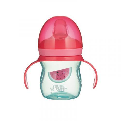 Canpol babies Tréninkový hrníček se silikonovým pítkem a úchyty SO COOL 150 ml