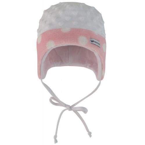 Esito Dětská zimní čepice Minky Méďa puntík růžová