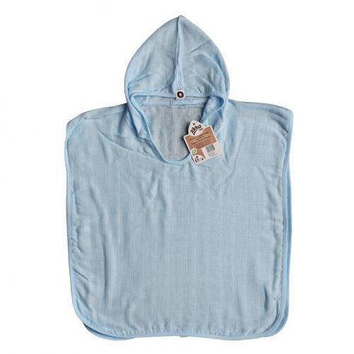 KIKKO Bambusové mušelínové pončo XKKO BMB Colours Baby Blue