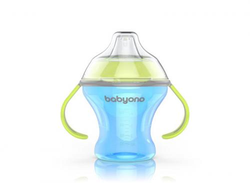 BabyOno Hrnek netekoucí s měkkým náustkem NATURAL NURSING 180 ml