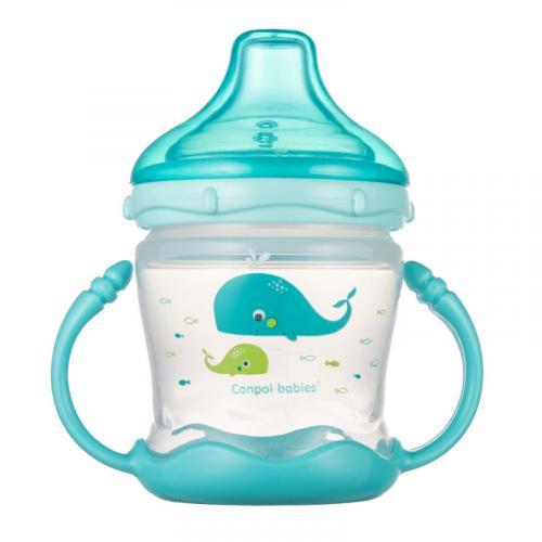 Canpol babies nevylévací hrníček se silikonovým pítkem LOVE&SEA 180 ml