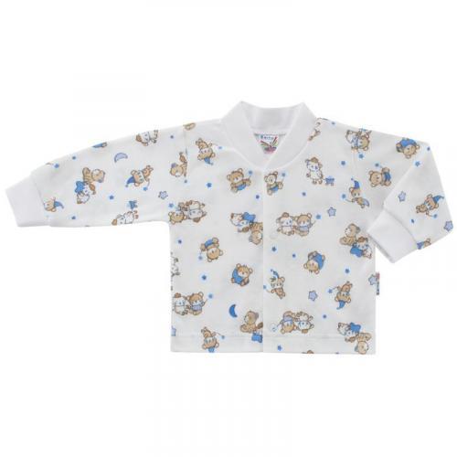 Esito Kojenecký kabátek bavlněný s potiskem Medvídek bílá/modrá