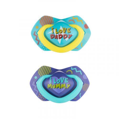 Canpol babies set symetrických silikonových dudlíků NEON LOVE 0-6m