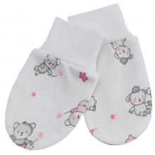 Esito Kojenecké rukavice bavlna potisk Medvídek bílá/růžová