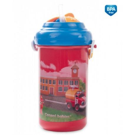 Canpol babies sklenička cestovní s víčkem a slámkou Auta